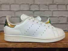 ADIDAS LADIES UK 5 EU 38 STAN SMITH WHITE IRIDESCENT TRAINERS (MIS-MATCH SIZE)