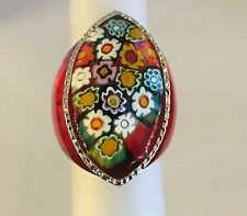 Millefiori Murano Alan K Design Ring Sterling Silver In Size 6,7,9 available