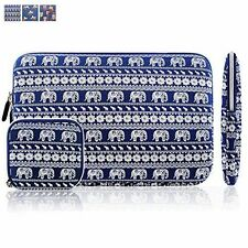"NEW BLUE ELEPHANTS Canvas Sleeve Zipper Case Cover Bag 15.6"" Laptop Macbook pro"
