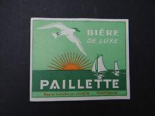 Ancienne étiquette BIERE PAILLETTE PONTORSON mouette / french beer label