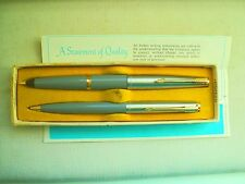 "PARKER ""45"" STANDARD de LUXE;FOUNTAINPEN and PENCIL in GRAY and ORIG.BOX + PAPER"