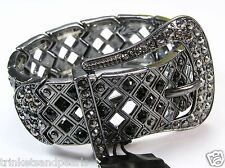 Cara Hematite Crystal Runway Fashion Belt Buckle Stretch Cuff Bracelet