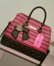 NWT Betsey Johnson Quilty As Charged Fushia Bow Stripe Satchel Handbag Purse Bag