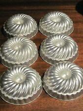 Set of 6 vintage tin baking jello pudding molds