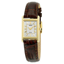 Seiko Solar Champagne Dial Brown Leather Ladies Watch SUP252