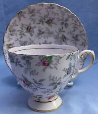 Vintage Tuscan Fine Bone China Pink Rose Chintz Tea Cup and Saucer, England