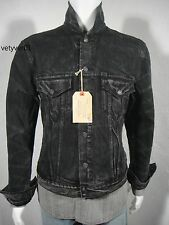 New RALPH LAUREN D&S Distressed Denim Trucker Jacket Black Washed size XXL