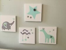 SET OF 4 HANDMADE MINT GREEN GREY ELEPHANT GIRAFFE CLOUD CANVASES nursery baby