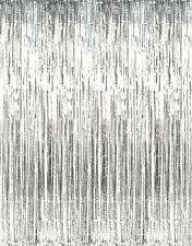 3' x 8' Silver Tinsel Foil Fringe Door Window Curtain Party Decoration