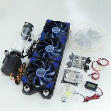 PC Water Liquid Cooling 360 Radiator Reservoir Pump CPU GPU Blocks Fittings Kit
