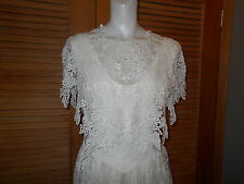 Jessica McClintock Ivory Lace Dress Gown Beautifully Draped Size10 Wedding #3181