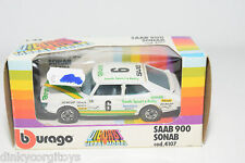 BBURAGO BURAGO 4107 SAAB 900 SONAB TURBO RALLY WHITE MINT BOXED