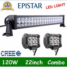 "22inch 120w Led Work Light Bar Combo + 4"" Pods 18W CREE Spot Driving Offroad SUV"