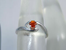 MEXICAN FIRE OPAL - Orange Pinky or October Birthstone Sterling Ring - Size 4