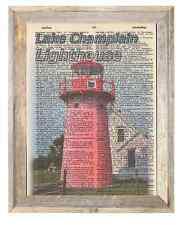 Lake Champlain Lighthouse Vermont Altered Art Print Upcycled Vintage Dictionary