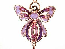 Dainty PURPLE ANGEL Copper Wind Chime Gem Marble Home Decor Indoor/Outdoor 20""