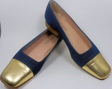 ESCADA Vintage Shoes 7 37 Leather Blue Jeans Denim Metallic Gold Flat Oxford