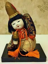 Vintage Gofun Japanese Kimekomi  Doll w Stand Glass Eyes Kami? Dancer?