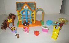 DORA THE EXPLORER TALKING GREENHOUSE GARDEN AND ACCESSORIES WITH FIGURE  HORSES