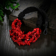 Amazing Red Coral Stone Pendant Jewelry Unique Vintage Necklace Retro Style Gift