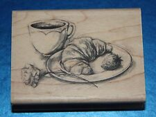 NEW Inkadinkado 'Coffee & Croissant' Wooden Backed Rubber Stamp 97899DD