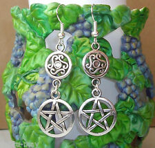 Pentagram and Celtic Charm Dangly Drop Earrings
