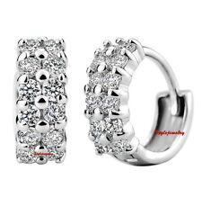 S925 Sterling Silver Swarovski Lab Diamond Double Row Huggie Hoop Earring  XE2