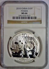 2010 10 Yuan 10Yn PANDA Silver CHINA NGC MS66 MS 66