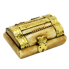 Real hand made small camel bone box from Jerusalem with brass copper decoration