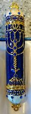 Mezuzah - Brass Menorah - Hand Painted Blue / Gold W/ Torah scroll -  BEAUTIFUL!