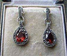 Deco Design Genuine Garnet CZ, Marcasite & Silver Earrings