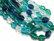 12x9mm Aqua Teal Crystal Mix Czech Glass Firepolished Oval Beads (20) #3744