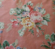Antique Cottage Roses Floral Cotton Fabric ~ Blush Pink Yellow Blue