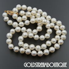 "JAPANESE AKOYA WHITE CULTURED PEARL 5.5-6 mm 38.5"" NECKLACE WITH 14KT GOLD CLASP"