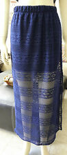 NWOT From Peru Cotton Summer Beach Cover Up Knitted Mesh Crochet Skirt - Blue