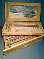 """Set of Vintage Irwin Auger Bits - 13 bits 1/4"""" to 1"""" - Collector Wood Box"""