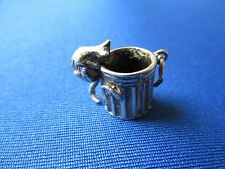 VINTAGE STERLING SILVER BRACELET CHARM  DUSTBIN WITH MOVING CAT