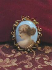 Victorian Hand Painted Porcelain Cameo Gold Filled Filigree Brooch,Crystal Trim