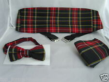 ( D ) Burns Night TARTAN Red/Black/Green MENS Bow tie + Cummerbund & Hankie Set