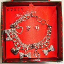 GUESS Rhinestone Post Earring Earrings Bracelet Bangle  Silver Tone Gift   Set