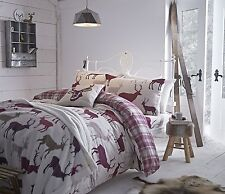 GRAMPIAN STAG & TARTAN CHECK FLANNELETTE THERMAL SINGLE DUVET COVER BEDDING SET
