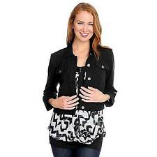 NEW - KATE & MALLORY  French Terry 3/4 Sleeved Two-Pocket Button-up Jacket 1X