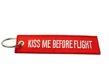 Kiss Me Before Flight Embroidered Keyring / Luggage Tag / Free UK Delivery