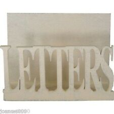 EAST OF INDIA CREAM WHITE WOOD WOODEN POST LETTER MAIL HOLDER RACK DESK TIDY