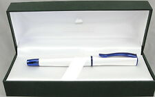 Monteverde Impressa Pearl Silver & Blue Trim Fountain Pen - Fine Nib - New