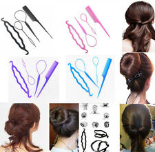 4pcs Magic Women French Hair Twist Hair Styling Clip Stick Bun Comb Maker Tool