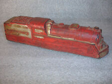 Old Vtg Antique Sun Rubber Train Toy Steam Engine Red Made In USA Black Wheels