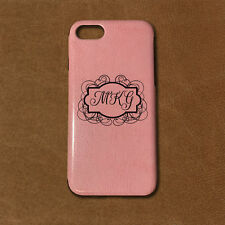 Personalized Monogram iPhone 7 PU Leather Case - Pink - Engraved in USA