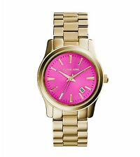Michael Kors Women's Runway Gold Tone Stainless Steel Pink Dial Watch MK5801