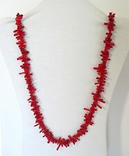 "Red Coral Natural Stick / Branch Beads 33"" Long Necklace. RCSB.  NWT"